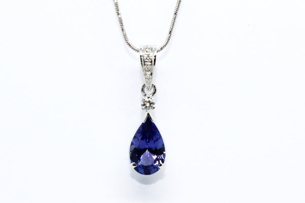 Pear-Shape Tanzanite and Diamond Pendant ad no.1652