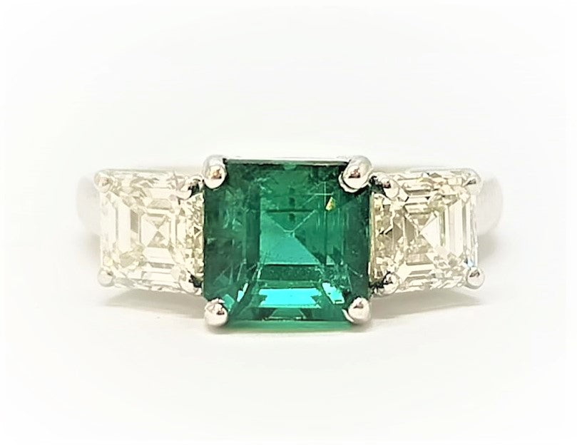 Emerald and Diamond Ring in 18k White Gold  AD NO.-1963