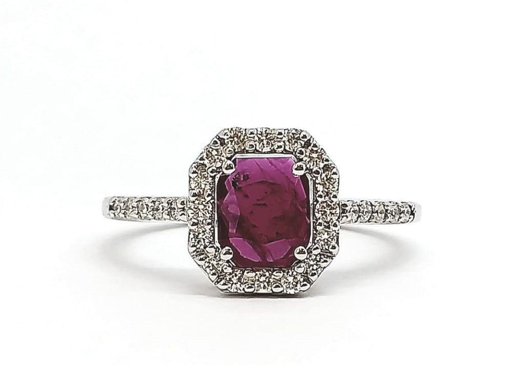 Emerald Cut Ruby and Diamond Halo Ring AD NO.-2151