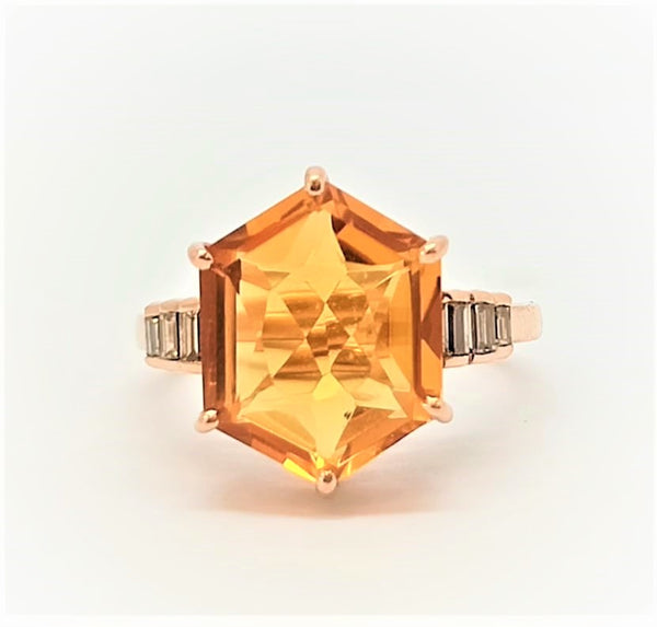 CITRINE AND DIAMOND BAGUETTE RING IN 14K ROSE GOLD AD NO.2120