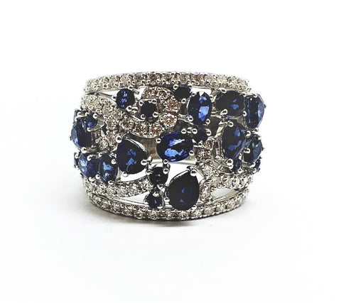 Blue sapphire & Diamond wide band ring in white gold (18MM)