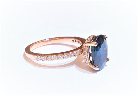 Blue sapphire and Diamond Statement Ring in 14k Rose Gold