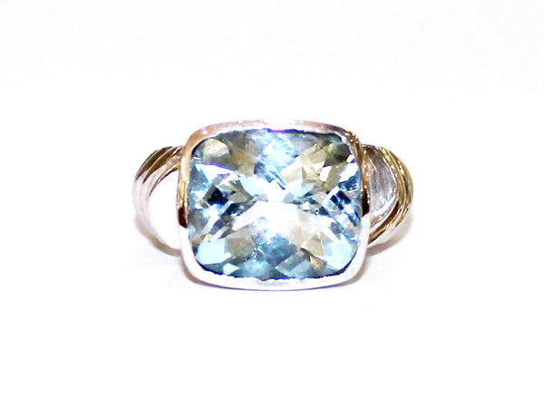 Bezel Set Blue Topaz Wide Band Ring