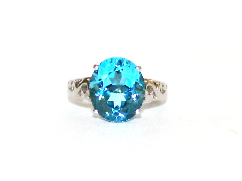 Swiss Blue Topaz Carved Ring