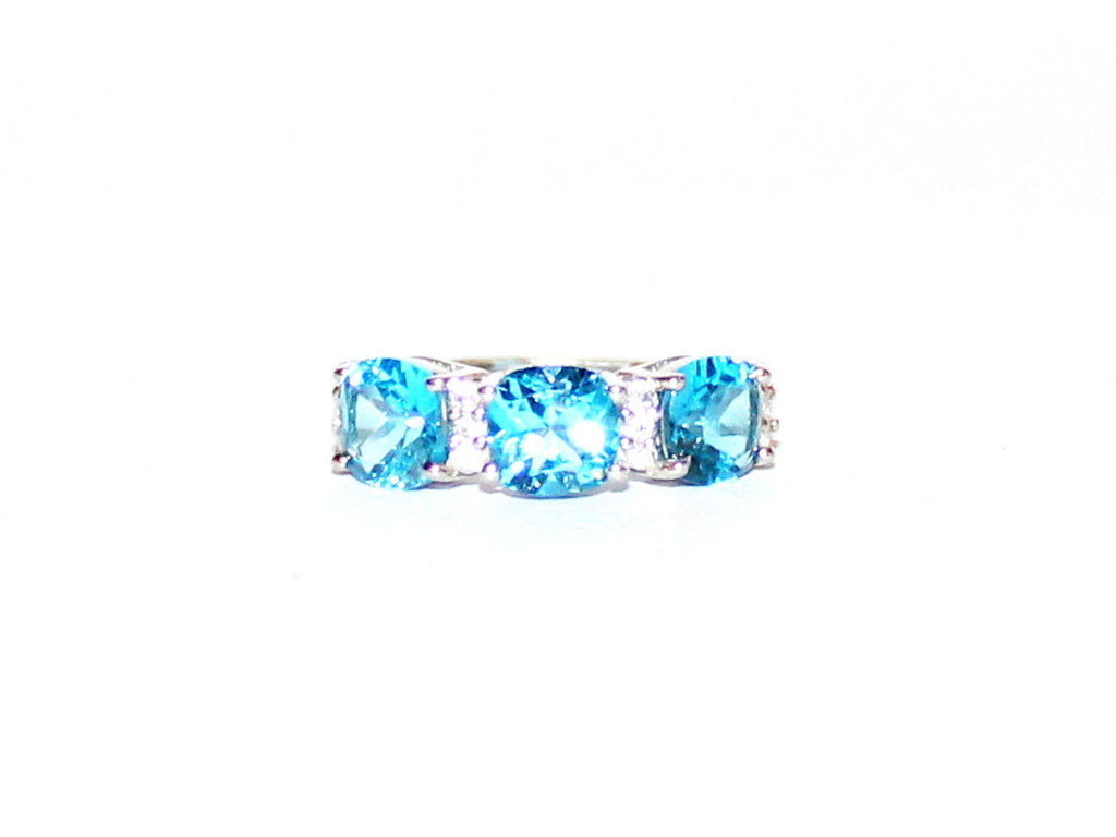 Blue Topaz And White Topaz Ring