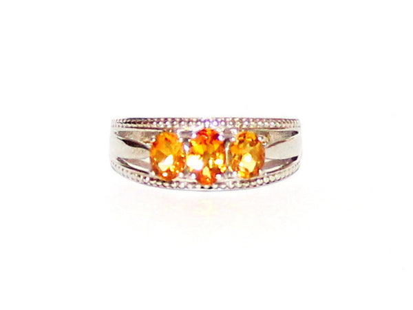 3 Stone Citrine Silver Braided Band Ring