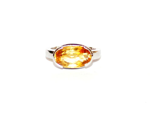 Citrine Single Channel Silver Ring