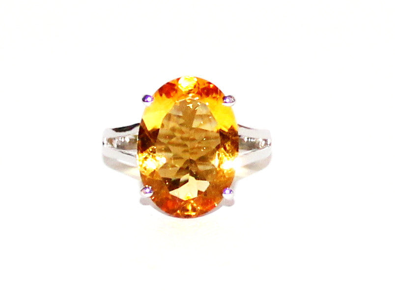 Large Citrine 4 Prong Ring-split Band