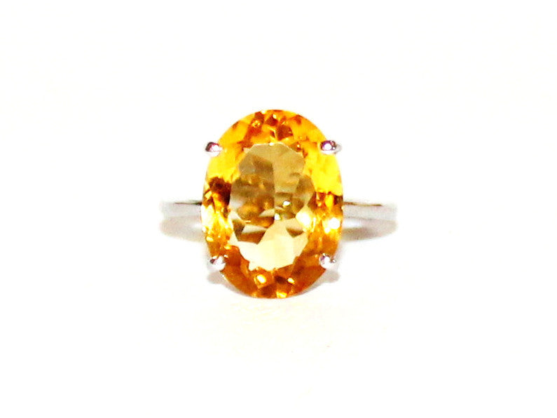 Simple Citrine 4 Prong Ring