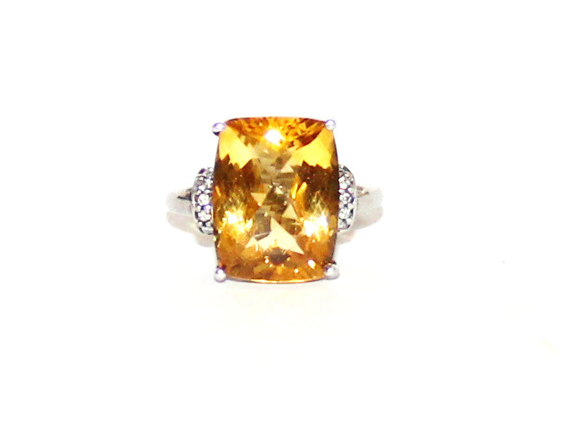 Long Cushion Citrine & Cubic Zirconia Silver Ring