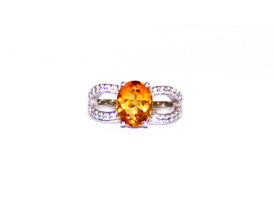 Citrine & White Topaz Dress Silver Ring