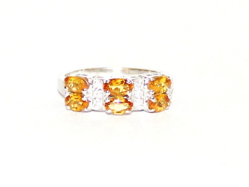 Double Band Citrine & White Topaz Silver Ring