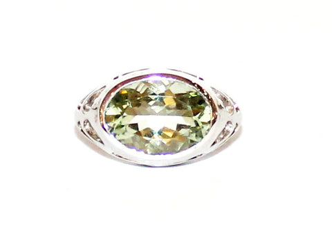 Green Amethyst Silver Cut Ring