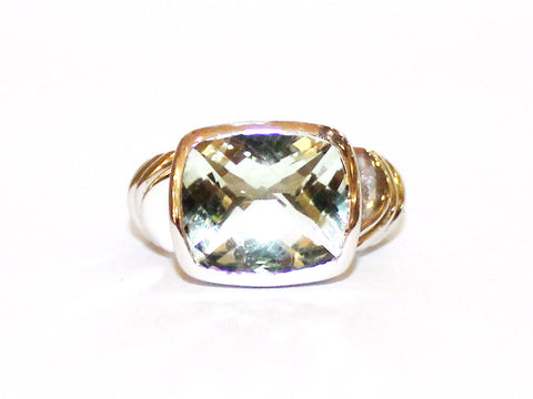 Bezel Set Green Amethyst Wide Band Ring