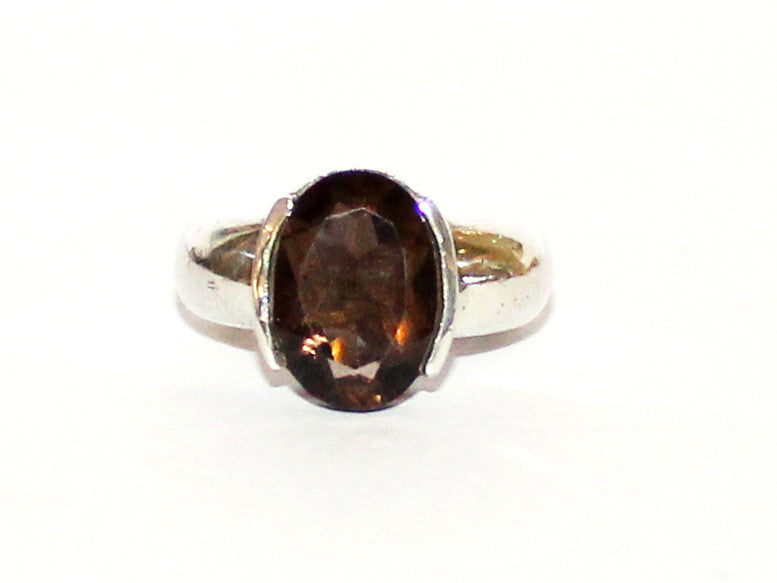Smoky Topaz Semi Channel Silver Ring