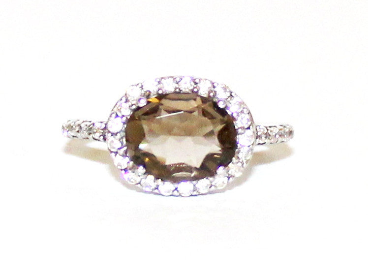 Smoky Topaz & Cubic Zirconia East West Cluster Silver Ring
