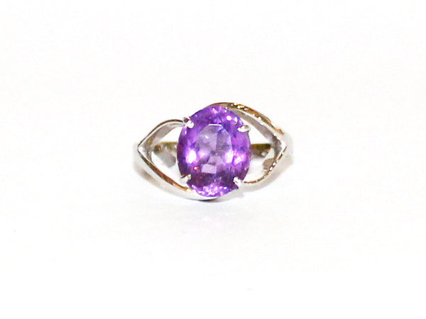 Unusual Amethyst Silver Ring