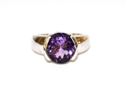 Amethyst Semi Channel Silver Ring