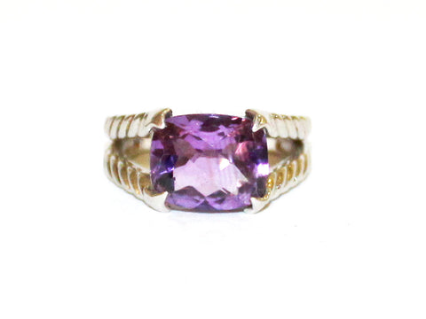 Amethyst Split Band Rope Silver Ring