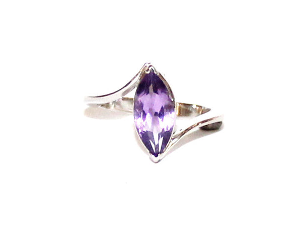 Amethyst Marquee Twisted Silver Ring