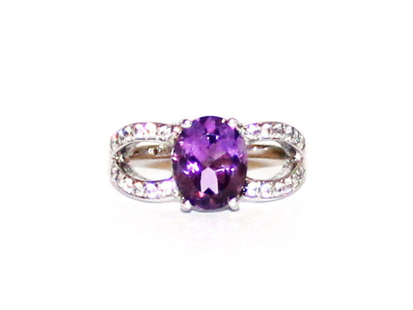 Amethyst & White Topaz Dress Silver Ring