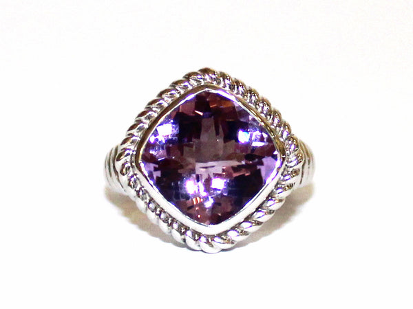 Amethyst Rope Silver Ring