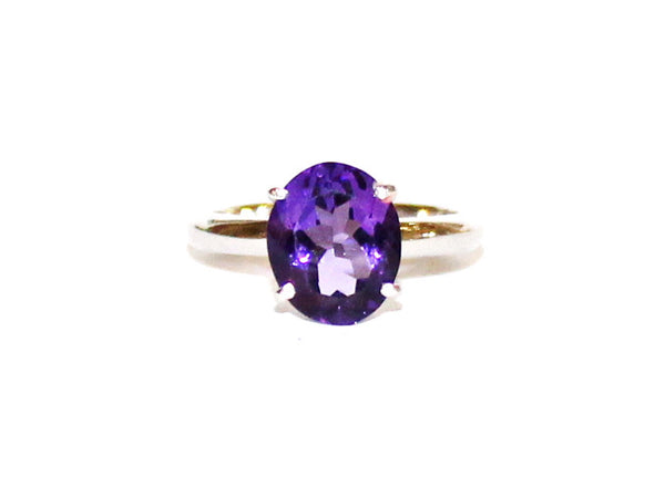 Amethyst Simple 4 Prong Silver Ring