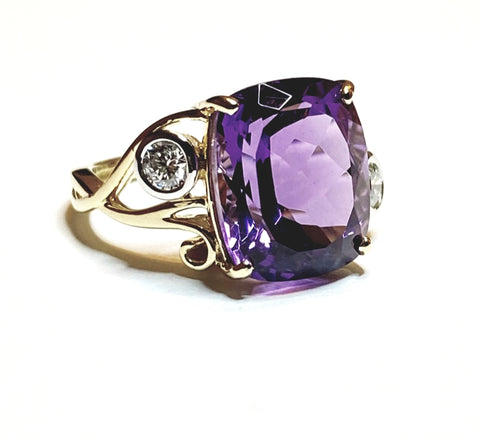 Cushion Amethyst and Diamond Weave Ring in 14k Yellow Gold (13x11)