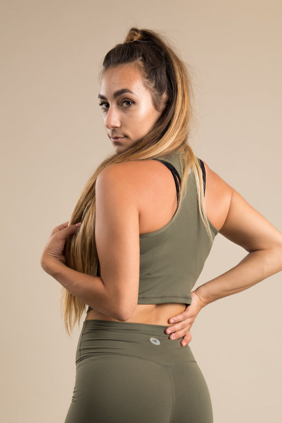 Sensation Cropped Vest - Khaki