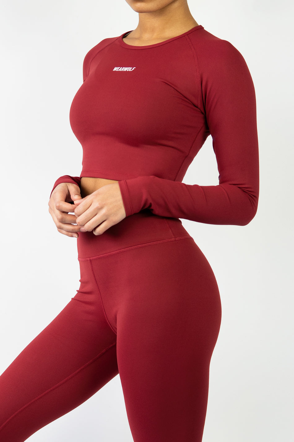 Form Long Sleeve Crop - Burgundy