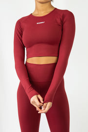 Form Long Sleeve Crop - Burgundy - WearWolf Clothing UK