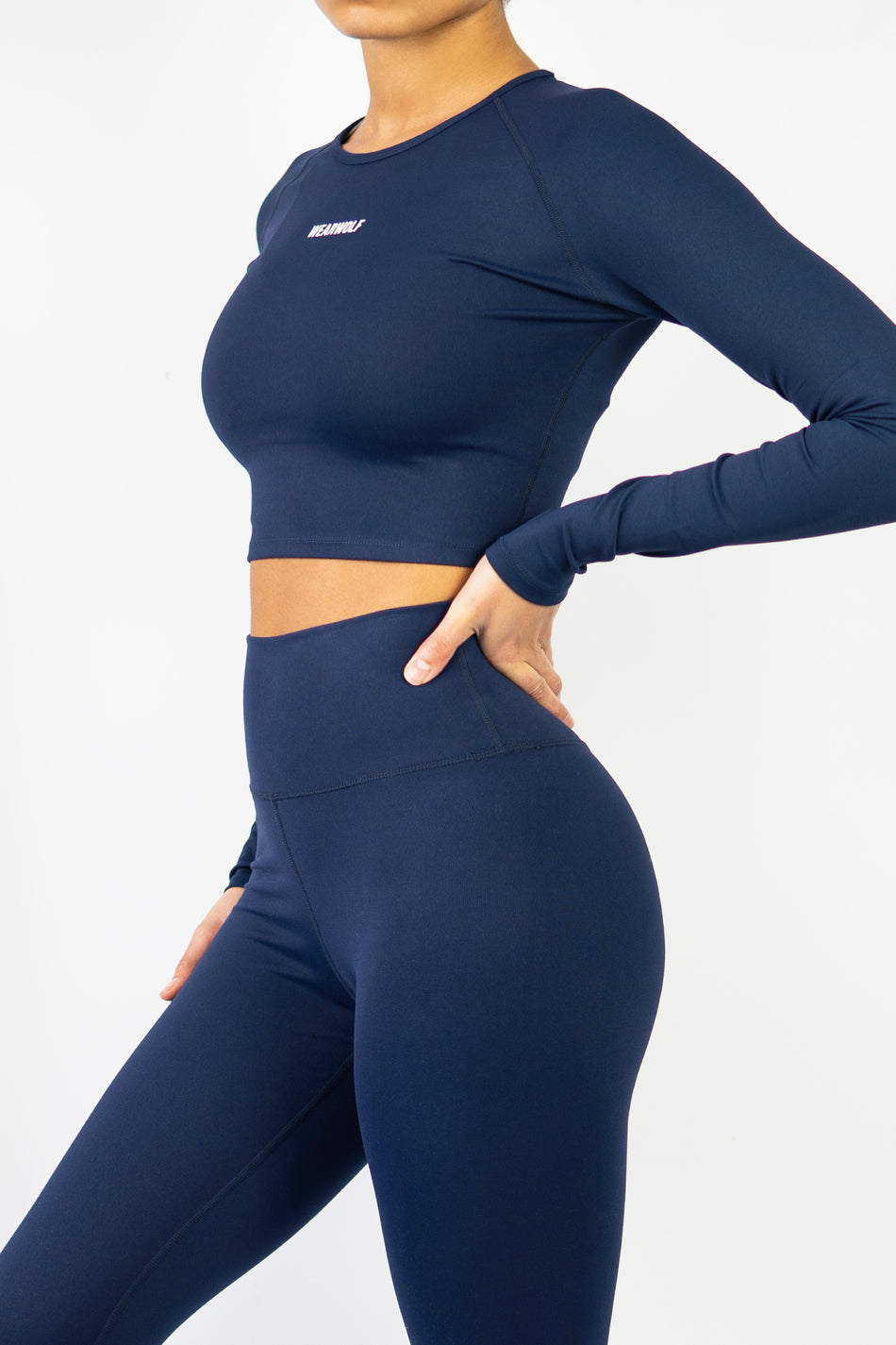 Form Long Sleeve Crop - Navy Blue - WearWolf Clothing UK