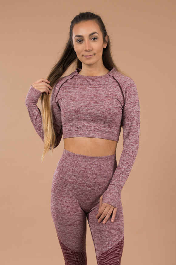 Seamless Crop Top - Blush/Ruby Pink