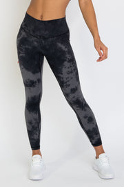 TieDye Leggings - Black/Silver - WearWolf Clothing Ltd