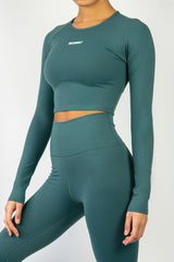 Form Long Sleeve Crop - Forest Green - WearWolf Clothing Ltd