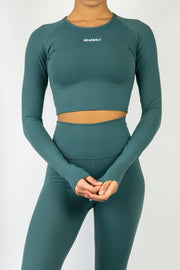 Form Long Sleeve Crop - Forest Green - WearWolf Clothing UK
