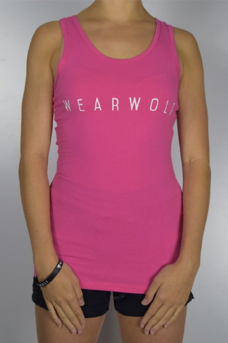 WearWolf Perform-Fit Tank Top - Raspberry/White
