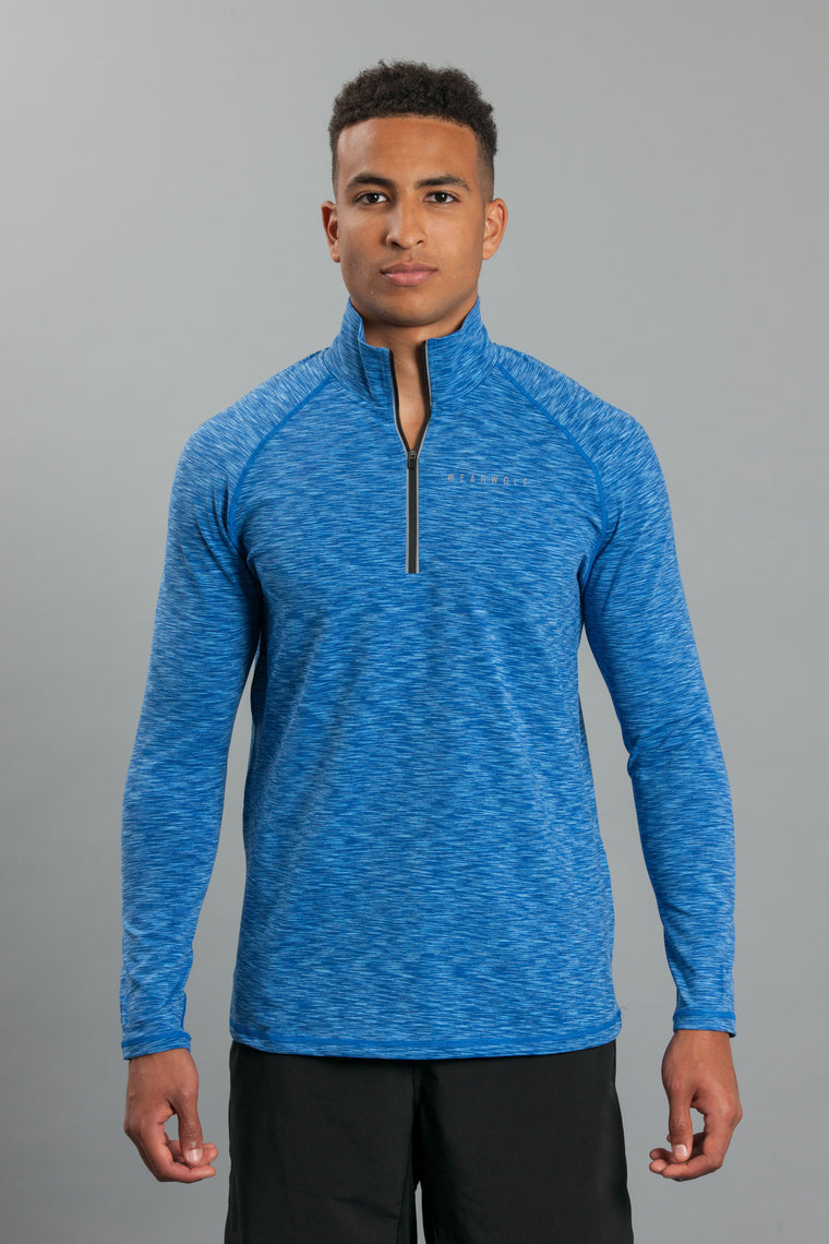 WearWolf 1/4 Zip Long Sleeve - Electric Blue - WearWolf Clothing UK