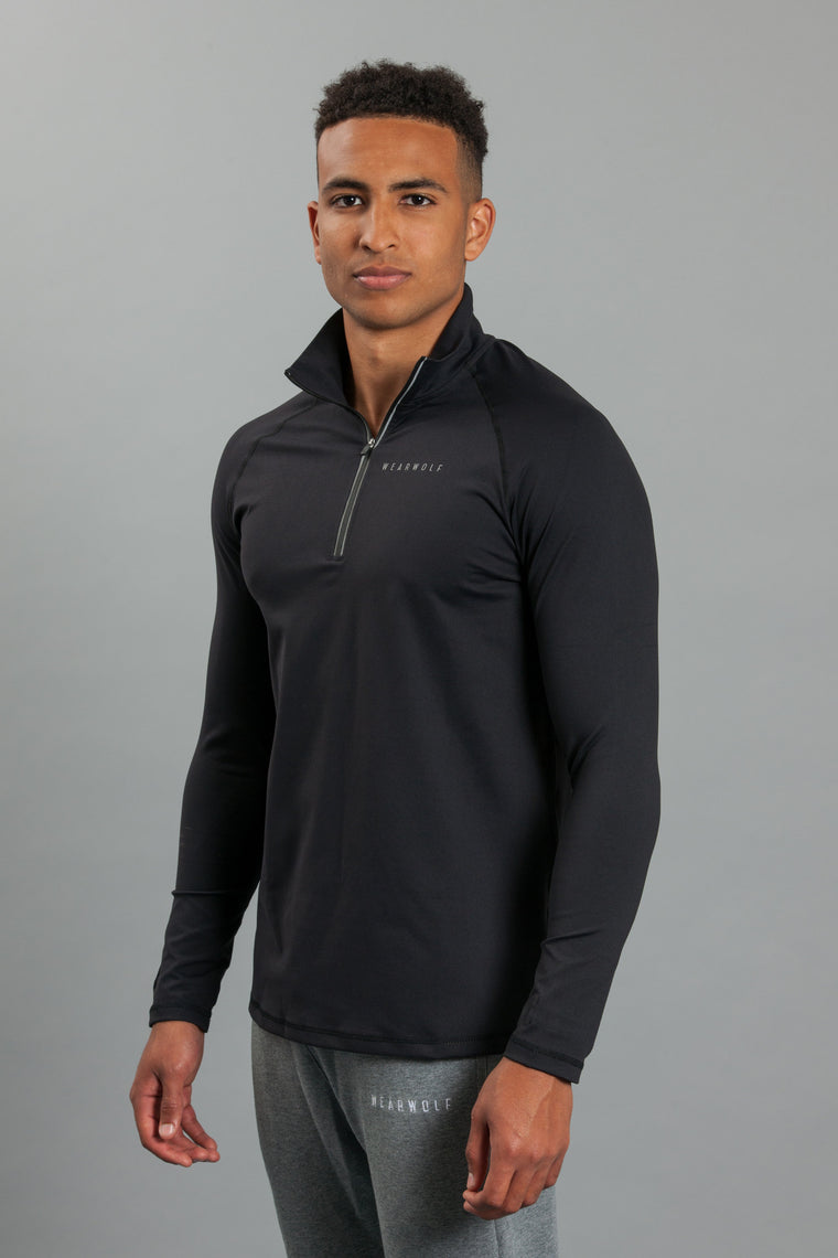 WearWolf 1/4 Zip Long Sleeve - Black - WearWolf Clothing UK