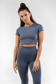 Cropped T-Shirt - Titanium Blue