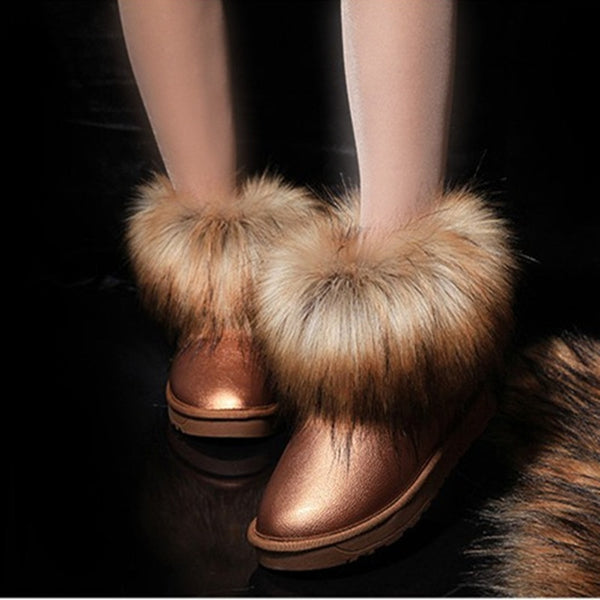 Fashion Women Winter Snow Suede Faux Fur Waterproof boots