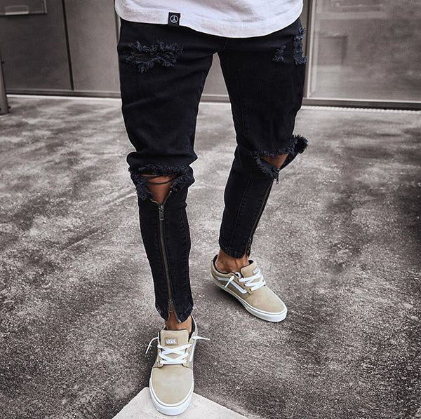 Vintage Ripped Jeans Skinny Slim Fit Zipper Denim Pants Destroyed fit.