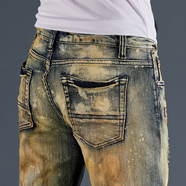 High quality Biker Straight leg Casual Designer Ripped Comfortable jeans