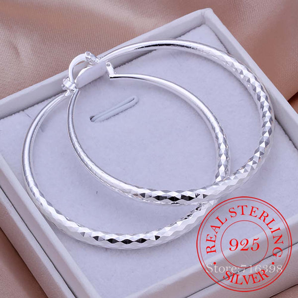 925 Sterling Silver Round Earrings Large Circle 5.1cm