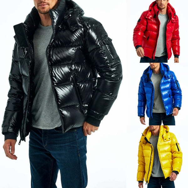 Mens Puffer Jacket For Winter Warm Bubble Coat with Zipper