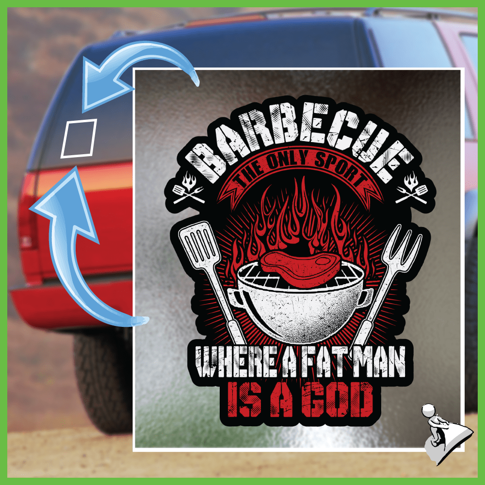 BBQ Sticker: Barbecue The Only Sport Where A Fat Man Is A God - Shirt Loft - 1