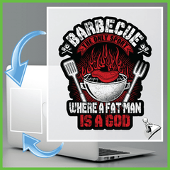 BBQ Sticker: Barbecue The Only Sport Where A Fat Man Is A God - Shirt Loft - 2