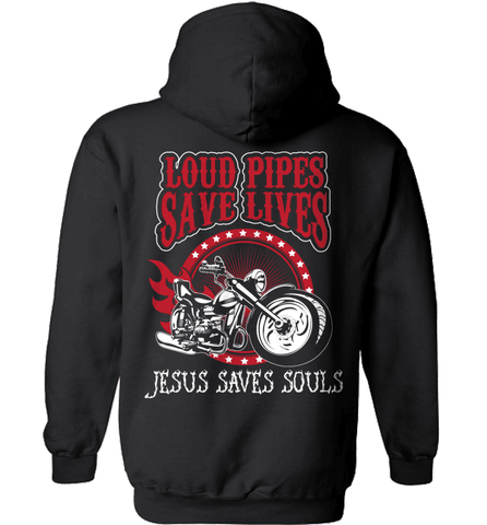 Biker Shirt - Loud Pipes Save Lives. Jesus Saves Souls