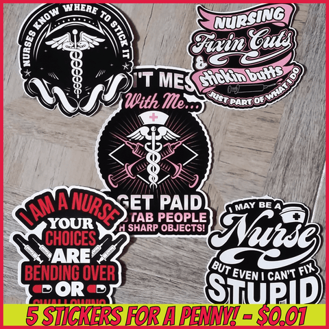 Nurse Stickers: Nurse Sticker 5 Pack
