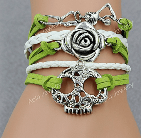 Free Biker Jewelry: Skull-Rose-Skeleton Leather Bracelet